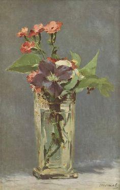 Oeillets et clématites dans un vase de cristal, Edouard Manet