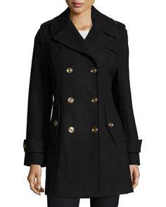 TDDR5 MICHAEL Michael Kors Double-Breasted Wool-Blend Coat, Navy
