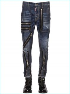 Button and concealed zip closure. Leather knee inserts with biker stitching detail . Zips at knees. Five pockets. Hem: Made in Italy . Jeans Pants, Denim Jeans, Leather Jeans, Nick Jonas, Jeans Style, Stretch Denim, Dsquared2, Fall Outfits, Personal Style