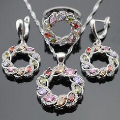 Multicolor ronda Piedras Plata de Color Pendientes de Gota Colgante de Collar de Sistemas de La Joyería Para Las Mujeres Regalo de Navidad Anillos Caja de Regalo Libre