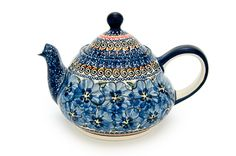 Polish crafted I believe. Love the intense blue mixed designs. Teapots And Cups, Teacups, Tea Pot Set, Tea Art, Kettles, Polish Pottery, Coffee Set, Chocolate Pots, Vintage Tea