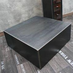 Table industrielle : Table basse métal brut cube rappelant le style loft, table industrielle originale loftboutik