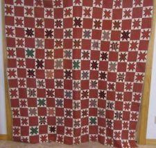 Antique 1860s Pennsylvania Star Quilt Earlier Fabrics Too BUCKS COUNTY