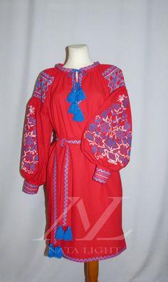 "Red tunic,Boho Style,Embroidered ""tree of life"",Flower,Vyshyvanka, Sizes…"