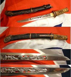 One Of The Most Stunning Samurai Tanto One May Ever See NOW SOLD This tanto [samurai dagger] is so spectacular it is simply breathtaking. The entire koshirae are based on a crayfish theme, of sublime quality, and the blade has the most rare and spectacular sukashi-horimono of a kurikara [dragon with ken and vajra], in most intricate detail. We estimate it is likely Shinto period, and without doubt an item of the highest esteem and beauty:
