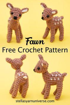 Crochet Deer, Crochet Animal Amigurumi, Cute Crochet, Crochet Animals, Crochet Crafts, Crochet Projects, Knit Crochet, All Free Crochet, Crochet Summer