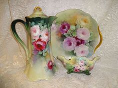 Beautiful - Limoges - France - Chocolate - Coco - Pot - Footed Candy Bowl - 2 Handle Cake Plate - Hand Painted - Romantic Victorian Bouquets - Tea Roses -  Coin Gold Accents - Treasured French Heirloom - Only Fine Lines