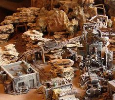 A really impressive mining set up. Obviously, this is Sci Fi, but it could easily be themed more Old West.