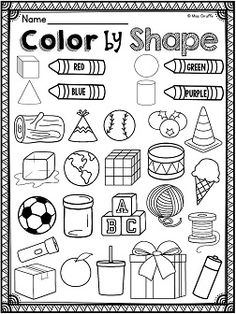 Color 3D shape by what real life object it is - great for recognizing shapes in the environment practice!