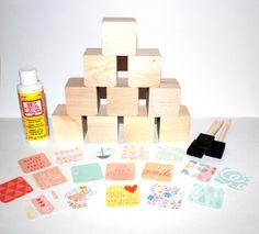 DIY Baby Shower Activity  Wooden Baby Blocks  by Booksonblocks