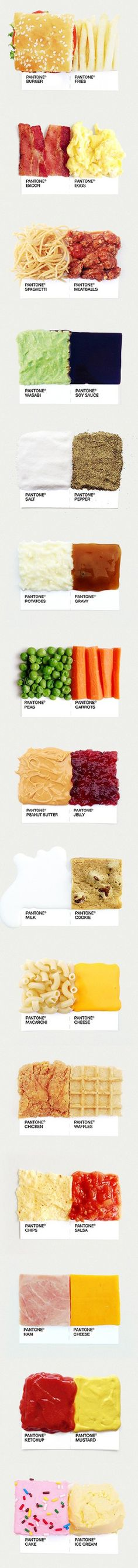 Blocks of spices on a plain marble backing w Pantone cards