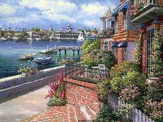 浓郁的欧洲风情小镇 - Sung Sam Park油画作品 - JIMMY  LU - 绵