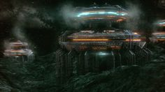 """Asteroid Mining Station"" by #KrešimirJelušić.  #sciencefiction #scifi"