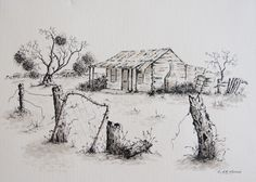 More fabulous Australian outback drawings by Judy LaMonde very inexpensive and a… Graphite Drawings, Doodle Drawings, Original Art For Sale, China Painting, Watercolor Paintings, Watercolour, Art Market, Online Art, Ink