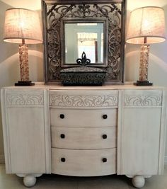 Inspiration: a possible finish for my Art Deco Buffet, which is currently its original golden oak colour.
