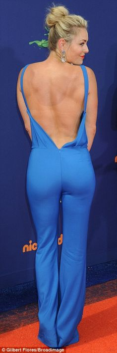 Blonde beauty: Lindsey wore a backless and sleeveless blue outfit to the awards show...