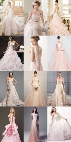 bridal trends 2014 color blush pink rose wedding dresses