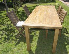 Oro y Menta: Como hacer una mesa de comedor de exterior DIY Picnic Table, Outdoor Furniture, Outdoor Decor, Exterior, Home Decor, Garden, Diy Projects, Dining Table, Mesas