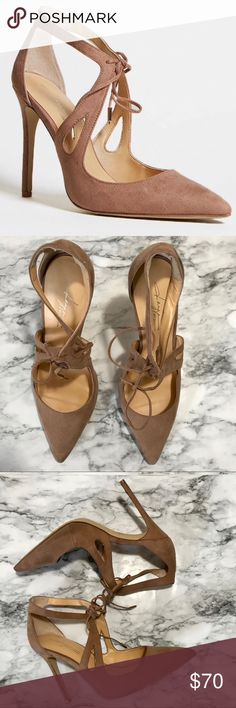 Daya by Zendaya Pointed Heel Daya by Zendaya Pointed Heel Only worn once Lace up front with self ties Stiletto heel Blush color  Daya by Zendaya Shoes Heels