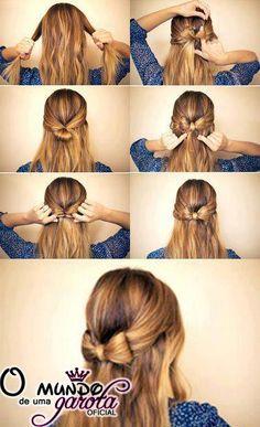 Meninas olhem q ideias legais e lindas pra vcs fazerem no cabelo...Tirei num página do facebook , q naum me lembro qual!!!      Mt fofo.......