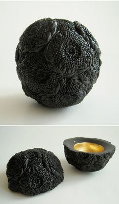 hitomi hosono - ceramics {floral orb with gold inside?!} <3