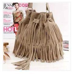 HJPHOEBAG Suede Drawstring Bucket Bag Women vintage Handbag Faux Fringe Tassel Shoulder Cross bodybag lady Messenger Bag WHC7521