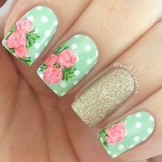 23 Best Autumn Nail Art Designs to Copy in 2019 These trendy Nails ideas would gain you amazing compliments. Check out our gallery for more ideas these are trendy this year. Nail Art Designs, Flower Nail Designs, Pretty Nail Designs, Nail Designs Spring, Nails Design, Spring Design, Floral Designs, Green Nail Art, Floral Nail Art