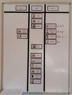Eerder schreef ik al een bericht over het gebruik van mijn whiteboard in groep 3. Dit jaar werk ik net wat anders met het bord, vooral ... Classroom Organization, Classroom Management, Co Teaching, Teacher, How To Plan, Learning, Ideas, Occupational Therapist, First Class