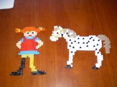 Pippi and Lilla gubben hama perler by Matilda Hama Beads Patterns, Beading Patterns, Fuse Beads, Perler Beads, Hama Mini, Bead Shop, C2c, Xmas Ornaments, Doll Furniture