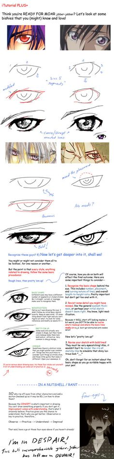 http://looneh.deviantart.com/art/Bishie-eye-tutorial-92168199 ★ || CHARACTER DESIGN REFERENCES | キャラクターデザイン • Find more artworks at https://www.facebook.com/CharacterDesignReferences http://www.pinterest.com/characterdesigh and learn how to draw: #concept #art #animation #anime #comics || ★