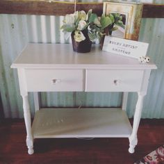 pebble colour and red shabby chic hall table. More available @ www.facebook.com/groups/VintageReclaimed