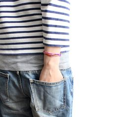 stripes, denim, beads