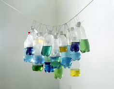 Dyed liquid in bottles. Ombre or just a cluster like a chandelier? Tony Feher Untitled 1996 dimensions vary with installation plastic bottles, water, food dye, wire and rope Installation Architecture, Installation Art, Plastic Art, Plastic Bottles, Sculpture Art, Sculptures, Food Dye, A Level Art, Three Dimensional