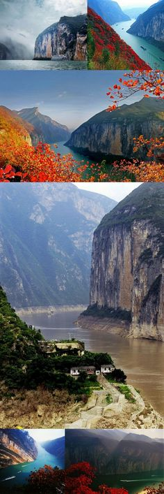 The Qutang Gorge is the shortest and most spectacular of China's Three Gorges.  The Qutang Gorge is only 5.0 mi long, but it is also the narrowest of the Three Gorges. The widest point measures only 500 ft wide. The mountains on either side reach as high as 4,000 ft. This combination of narrow canyons among high mountains with several switchbacks in only 8 kilometres creates spectacular vistas, and the Qutang Gorge is often considered the most beautiful of all the Three Gorges.