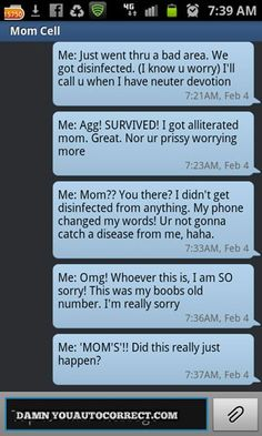 """According to Meredith, """"I went thru a dead zone & got DISCONNECTED from my mom. Pulled over to text her that I was ok bc she always worries that I got in an accident whenever we get disconnected. Pressed my mom's old cell number & texted all this to some poor stranger who now thinks her/his number was my 'boobs' old number. Geezus, I don't think it's possible to explain this one"""""""
