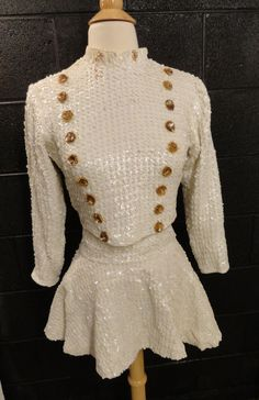 cd2638e5ffe 1970s Majorette Costume. Adult Small. Sequined 3 Pc Uniform. Long Sleeve  Top   Short Skirt. Worn at College Football Games. Vintage Costume