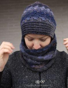 """Купить Комплект """"azur"""" - разноцветный, абстрактный, шапка, снуд, шарф труба, шапка крючком, тёплаяшапка"""