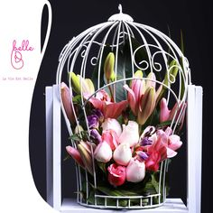 flower design with Pink Roses in cage