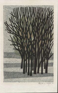 Fumio Fujita Woodblock Print - A Thicket 1964