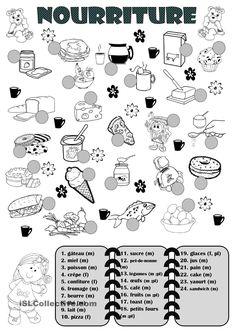 Nourriture #vocabulaire #A1 #activité_à_imprimer
