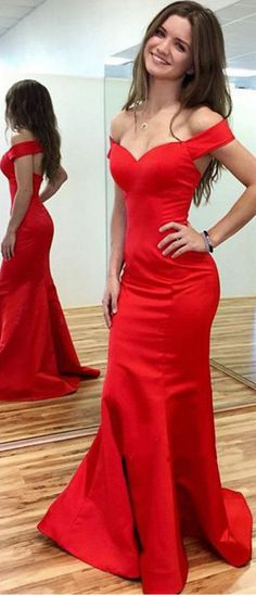 red satin prom dresses Evening Dresses