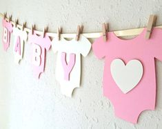 """Items similar to Baby One-Piece Bodysuit """"BABY GIRL"""" Baby Shower Banner: Pink and Green Baby Girl Shower Decoration on Etsy Idee Baby Shower, Girl Shower, Baby Shower Gifts, Foto Banner, White Baby Showers, White Shower, Baby Shower Invitaciones, Girl Baby Shower Decorations, Baby Decor"""
