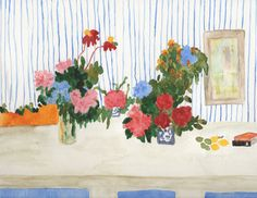 Floral Still Life with Pale blue striped walls - Theresa Berenato