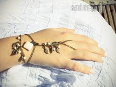 Slave Bracelet Bronze Chain White Natural door SlaveBraceletAndMore, $23.00