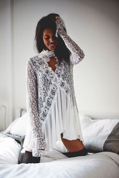 Free People Womens LACE/RAYON PIECED TUNIC https://api.shopstyle.com/action/apiVisitRetailer?id=522576206&pid=uid8121-34549011-83