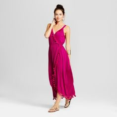 Women's Tulip Skirt Maxi Dress with Pom Poms - Spenser Jeremy - Berry XL, Red