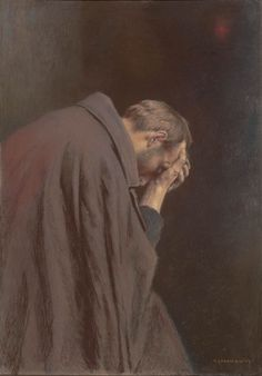 """""""The Lord's Prayer. Pilgrim"""" (1908) by Piotr Stachiewicz (Polish; 1858-1938); pastel on cardboard; The Silesian Museum in Katowice"""