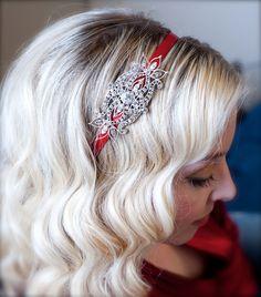 Holiday Crystal Winter Headband with Red Satin Headband Crystal Embellishment. $29.75, via Etsy.