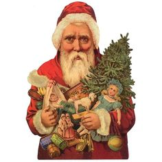 Large Santa with Tree and Toys Scrap ~ Germany ~ New for 2013