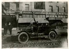 Salt Lake City's first motorized taxi is seen downtown in 1909. (Tribune file photo)